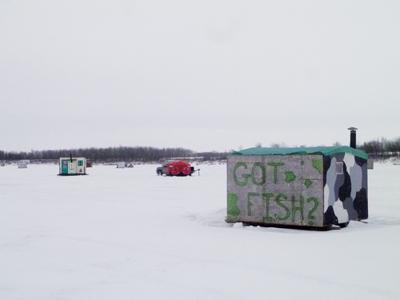 Ice fishing village near Selkirk, Manitoba