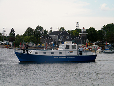 A smaller vessel, the Fylgja, has been donated to the Consortium by the Nielsen family of Winnipeg. It is being used for near-shore research, particularly on zebra mussels.