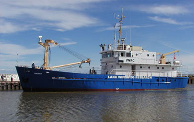 The Namao, a former coast guard vessel, is the research platform for the Lake Winnipeg research consortium.