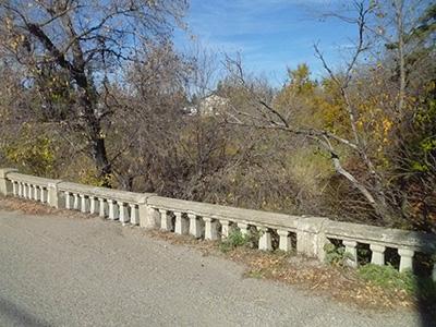 Vintage bridge railing erected in 1920 in Shoal Lake, Manitoba.