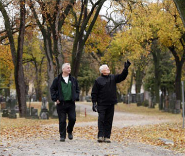Elmwood Cemetery Executive Director Robert Filuk (right) and Matt Vinet of the International Society of Arboriculture examine Elmwood's trees. Photo: Ken Gigliotti/Winnipeg Free Press